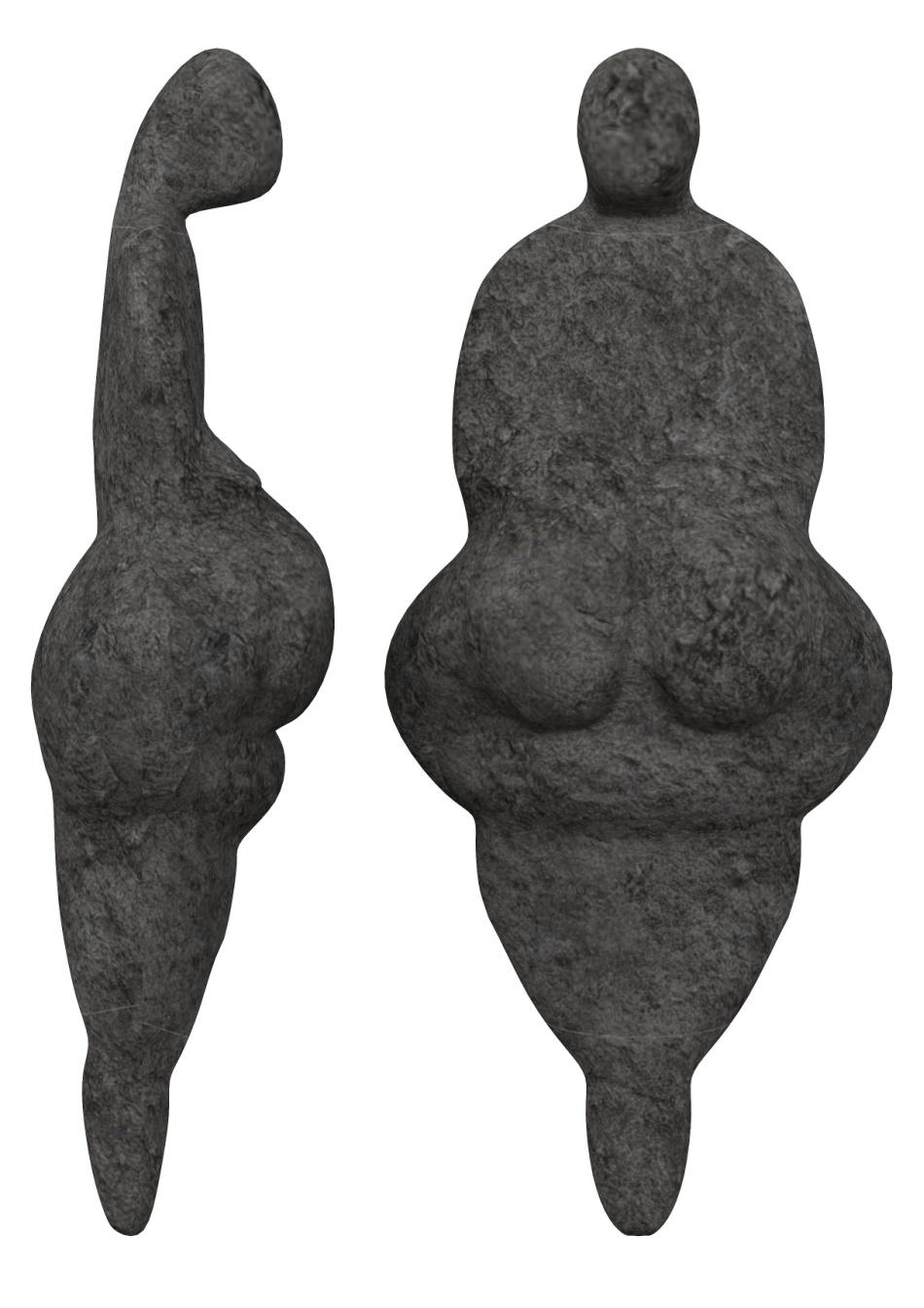 Replică a figurinei cunoscute sub numele de Venus din Lespugue, o mică statuetă din fildeş, descoperită în Franţa, având vârsta de 24.000 - 26.000 de ani.