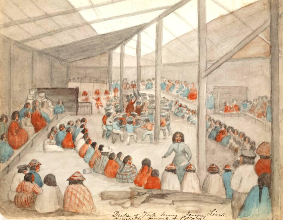 Membri ai populaţiei Klallam, participând la potlatch.