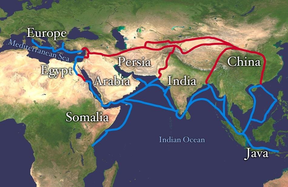Harta Drumului Mătăsii şi a principalelor rute maritime din Lumea Veche