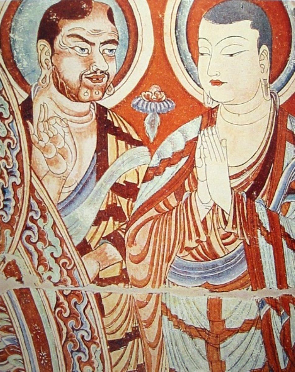 Pictură murală din Bezeklik reprezentând doi călugări budişti