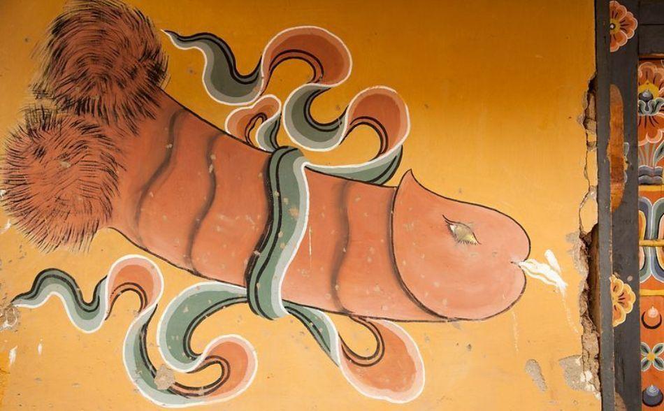 Imaginea unui penis pictat în stil tradiţional tibetan