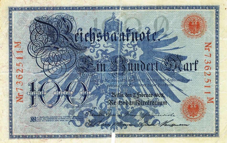 O bancnotă de 100 mărci emisă în perioada regimului nazist