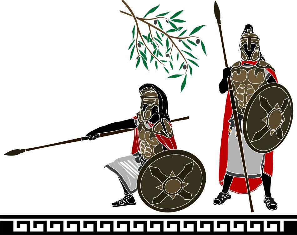 Soldaţi în echipament de luptă elenistic