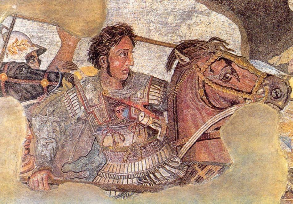 Mozaic antic din Napoli care îl reprezintă pe Alexandru Macedon în luptă cu regele Darius al Persiei