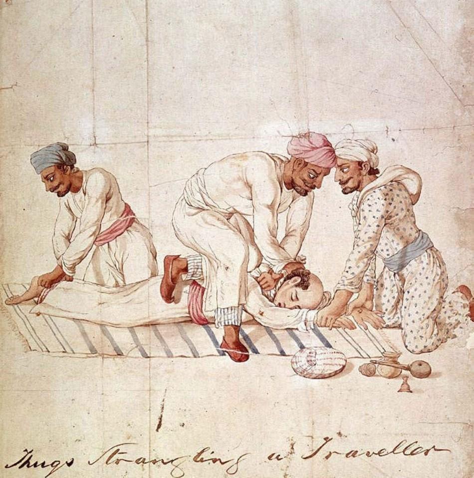 Imagine de epocă ce prezintă asasinarea unui călător de către trei thugi