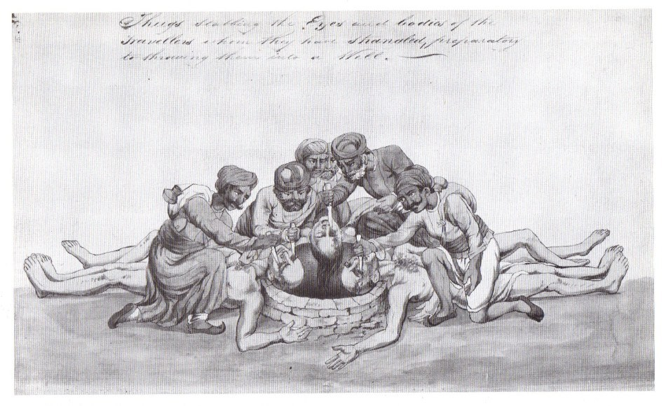 Imagine de epocă în care thugii înţepă ochii unor      victime înainte de a le arunca în fântâni secate