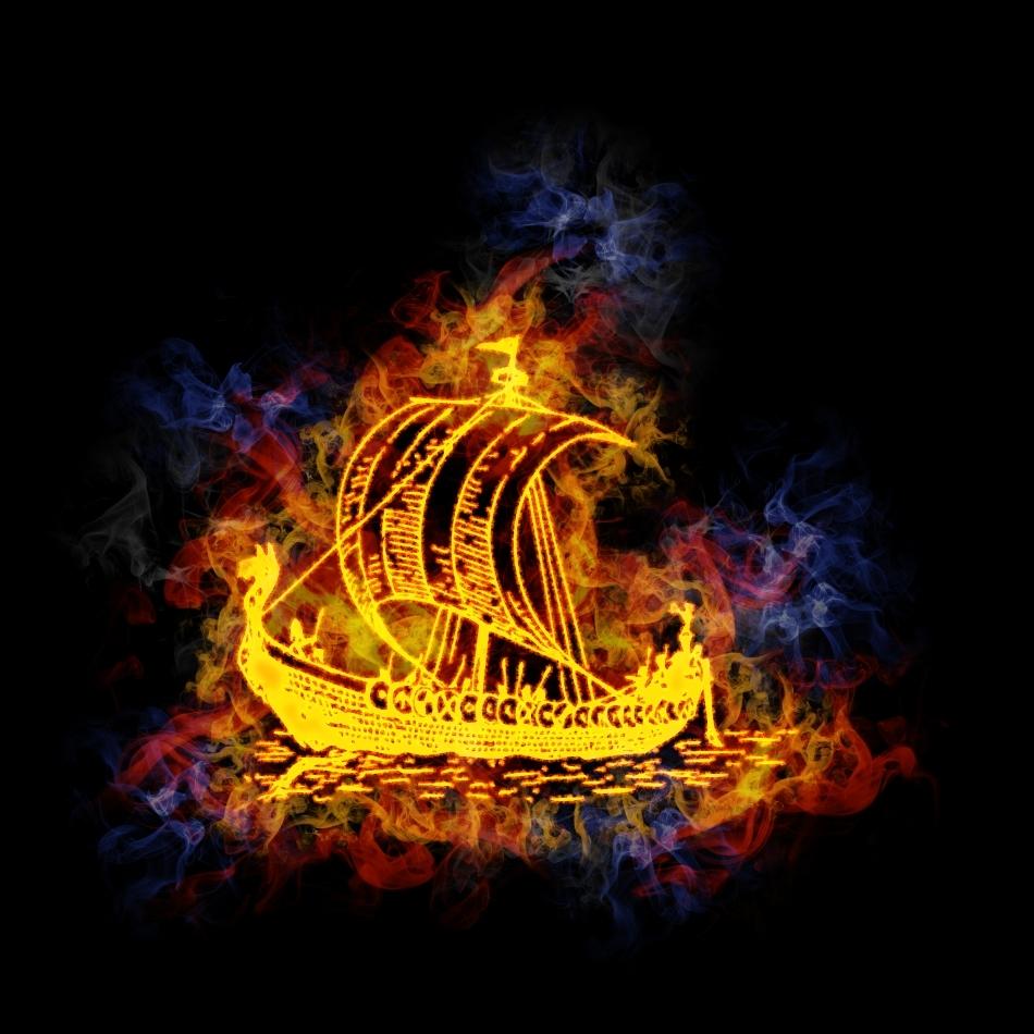 Corabie vikingă în flăcări