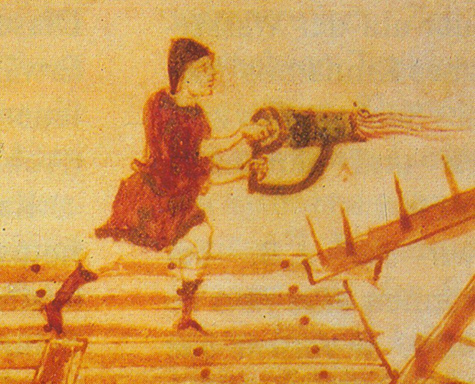 Miniautură de epocă care arată un aruncător portabil de foc grecesc