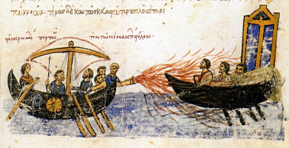 Miniatură de epocă care prezintă modul în care era folosit focul grecesc în timpul unei bătălii pe mare