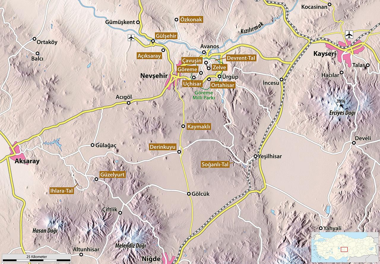Harta Cappadociei şi cele mai importante destinaţii turistice