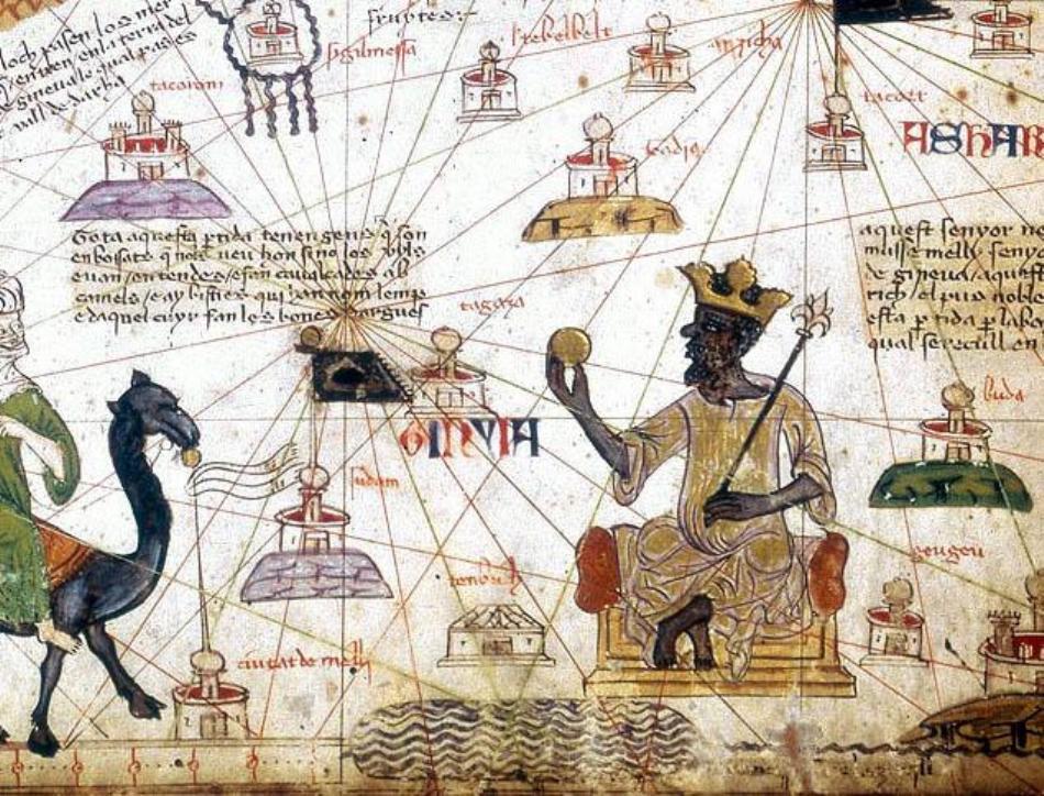 Pagină din faimosul Atlas Catalan din anul 1375, care îl reprezintă pe regele Mansa Musa cu o pepită de aur în mână