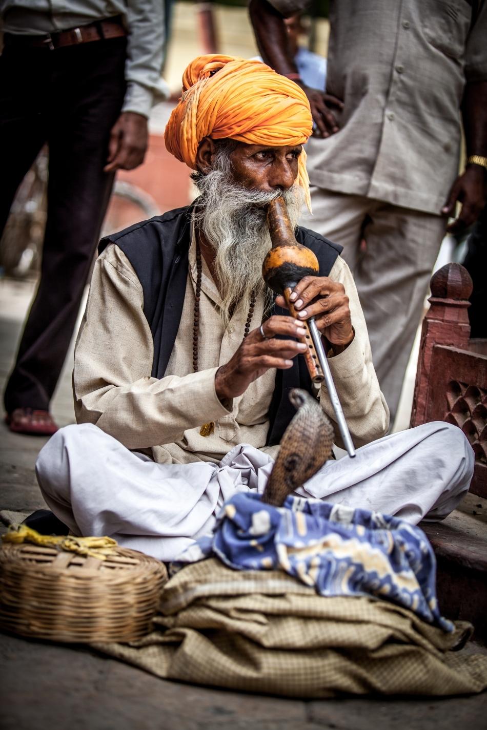 Bătrân îmblânzitor de şerpi din Delhi