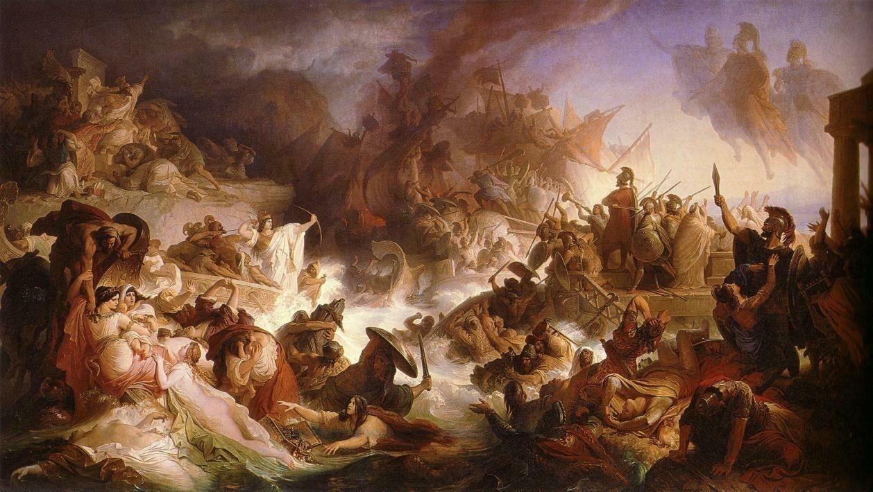 Bătălia de la Salamina în viziunea pictorului Wilhelm von Kaulbach (1868)