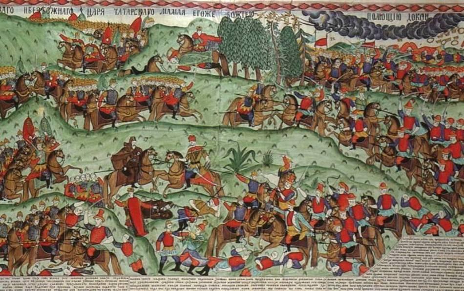 Miniatură medievală cu Bătălia de la Kulikovo dintre ruşi şi tătari