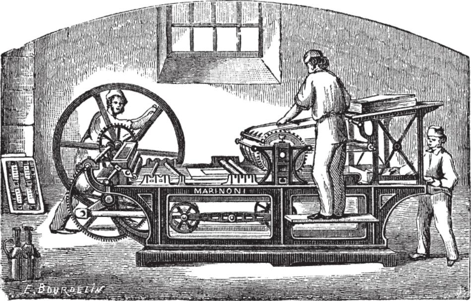 Gravură de epocă cu un atelier de tipărit