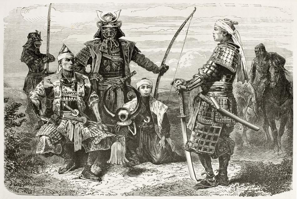 Desen de epocă cu samurai şi echipamentul lor militar specific