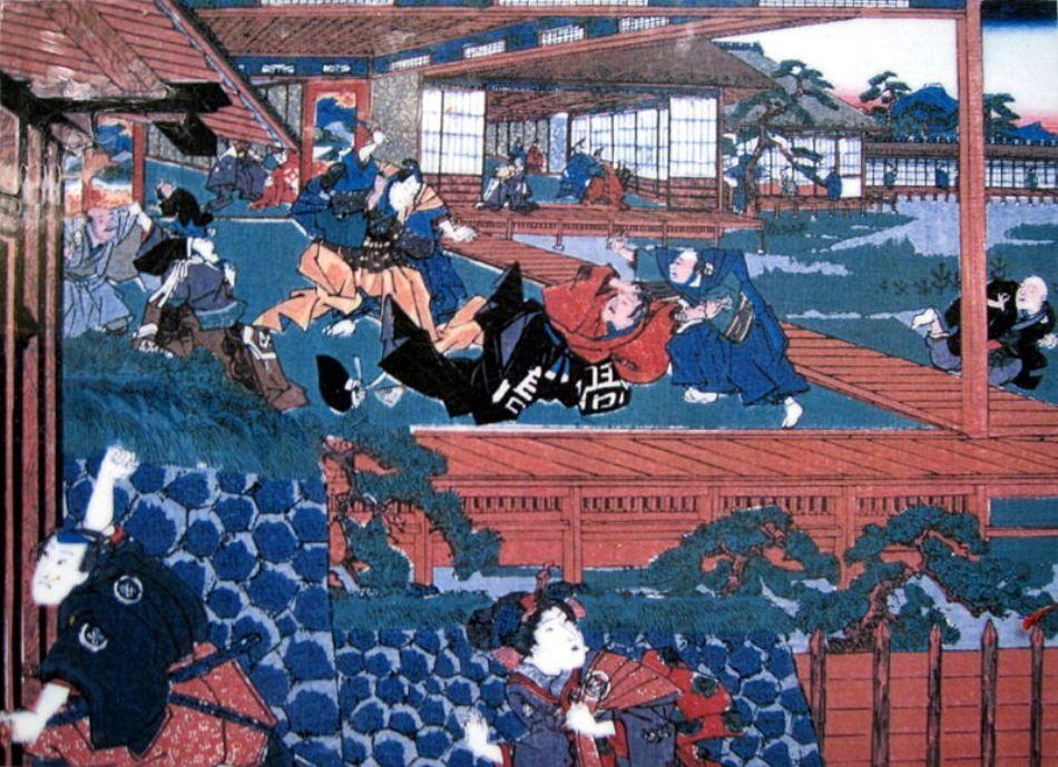 Pictură tradiţională niponă d etip Ukio-E care reprezintă momentul în care Asano l-a atacat pe Kira