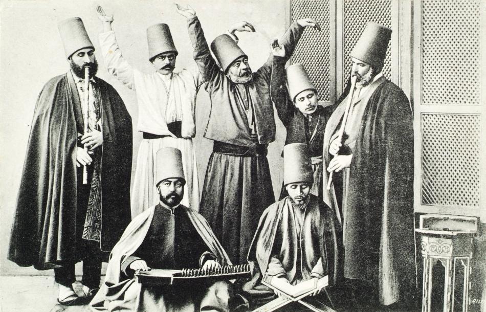 Imagine de epocă cu dervişi turci din Istambul