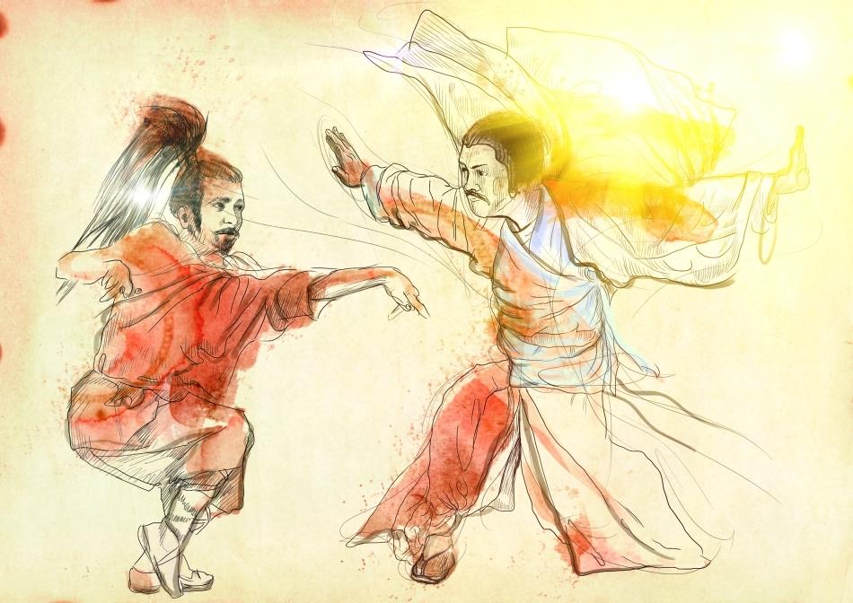 Doi luptători de Kung Fu stilizaţi