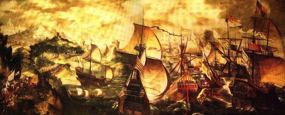 Imagine de epocă cu flota Invincibila Armada