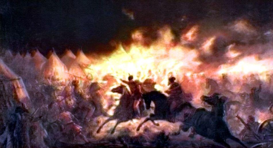 Atacul de noapte de la Târgovişte - pictură de Th. Aman