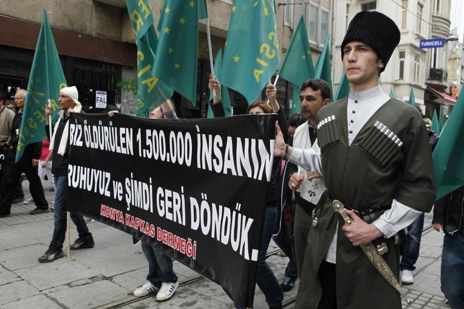 Manifestaţie de protest a cerchezilor din Turcia