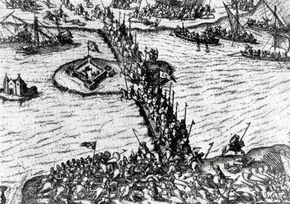 Gravură de epocă cu Bătălia de la Giurgiu, câştigată categoric de Mihai