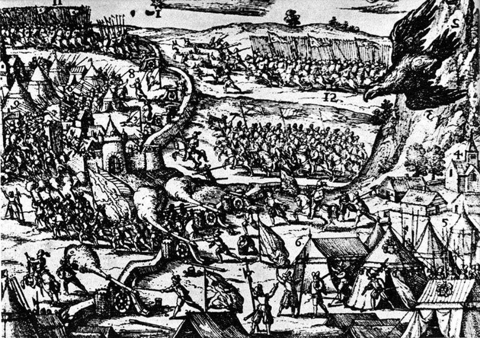 Desen de epocă cu Bătălia de la Târgovişte