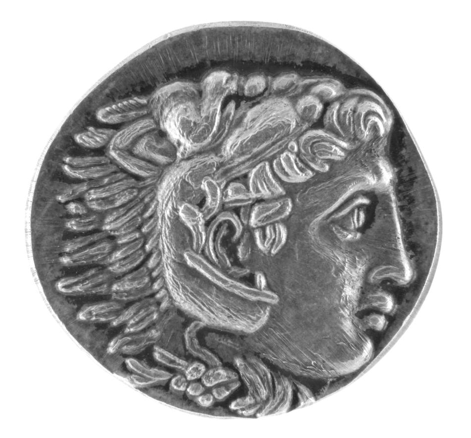 Monedă antică cu chipul lui Alexandru Macedon