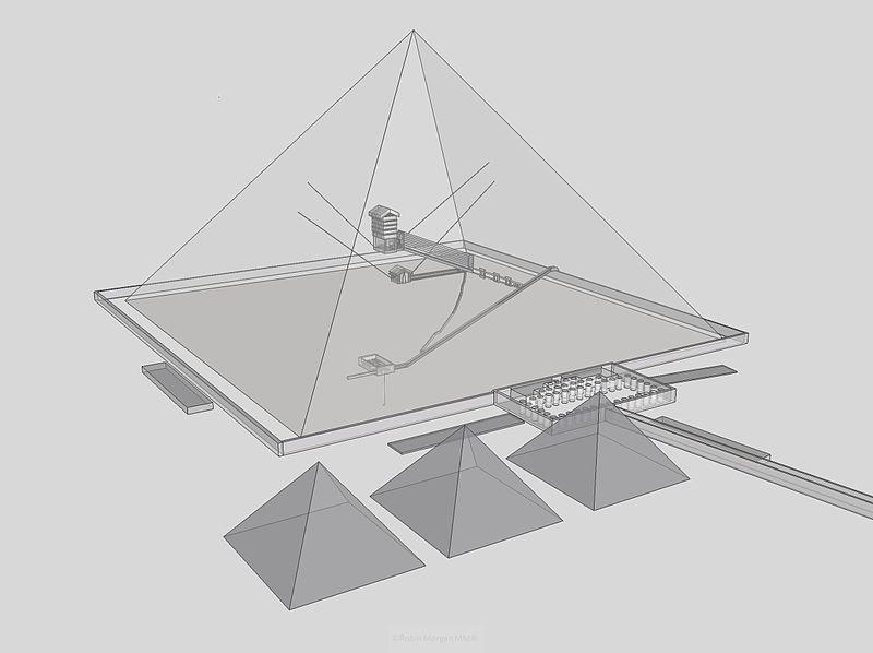Structura piramidei lui Keops, cu cele trei camere funerare