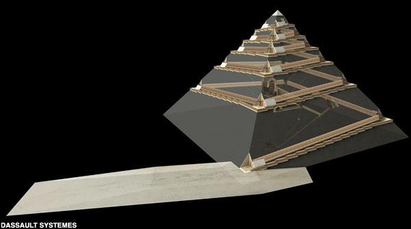 Arhitectul francez Jean-Pierre Houdin crede că piramidele au fost construite cu ajutorul unei rampe interioare