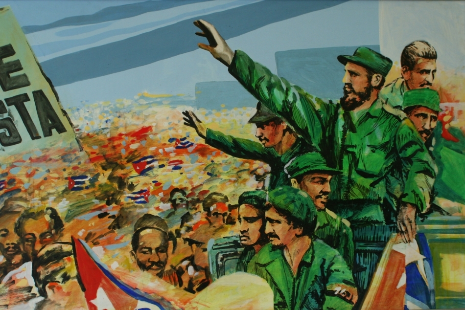 Una dintre numeroasele fresce apărute după incident, în care este omagiat El Lider Maximo, cum a fost supranumit Fidel Castro.