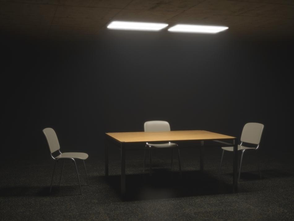 O cameră de interogare şi anchetare dintr-o clădire care a aparţinut Stasi