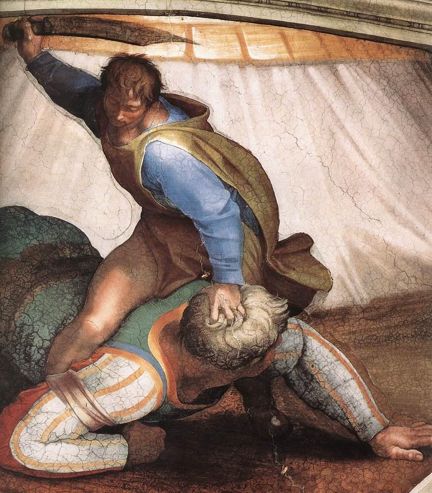 David şi Goliat, în viziunea lui Michelangelo, pe Capela Sixtină