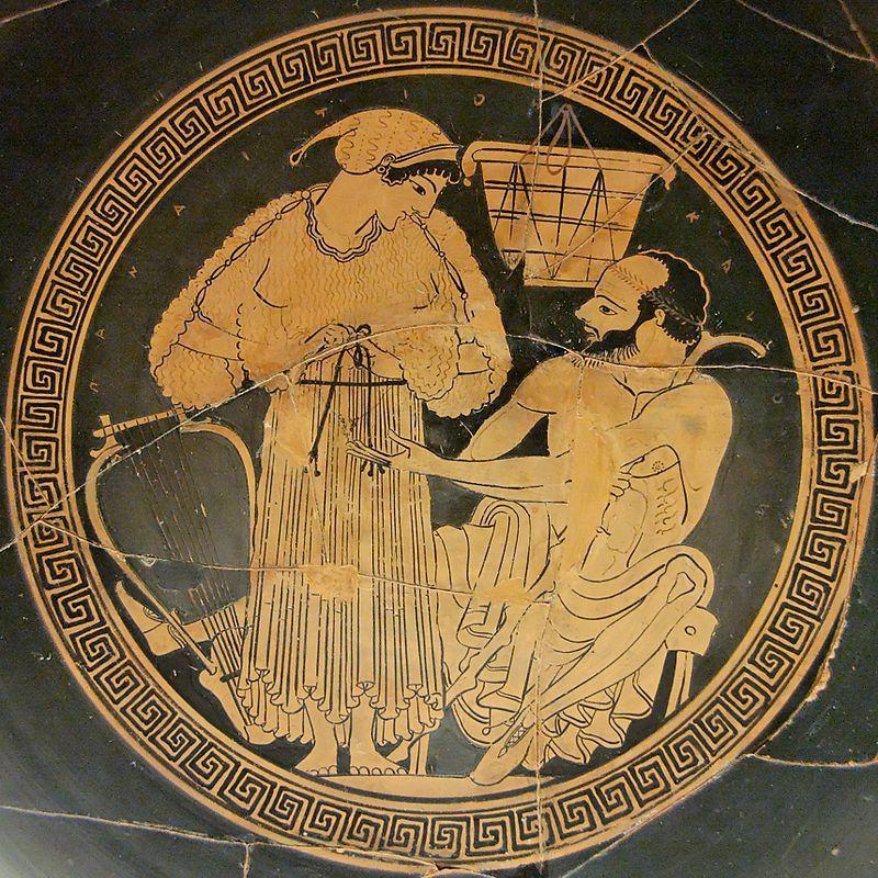Un client negociază preţul unei partide de sex cu o hetairă, desen pe un vas ceramic grecesc