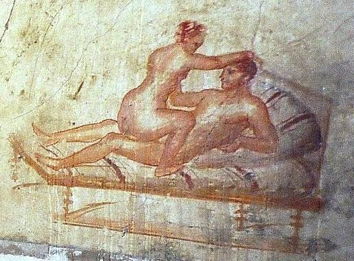 Scenă erotică pe peretele unui bordel din Pompei, Italia