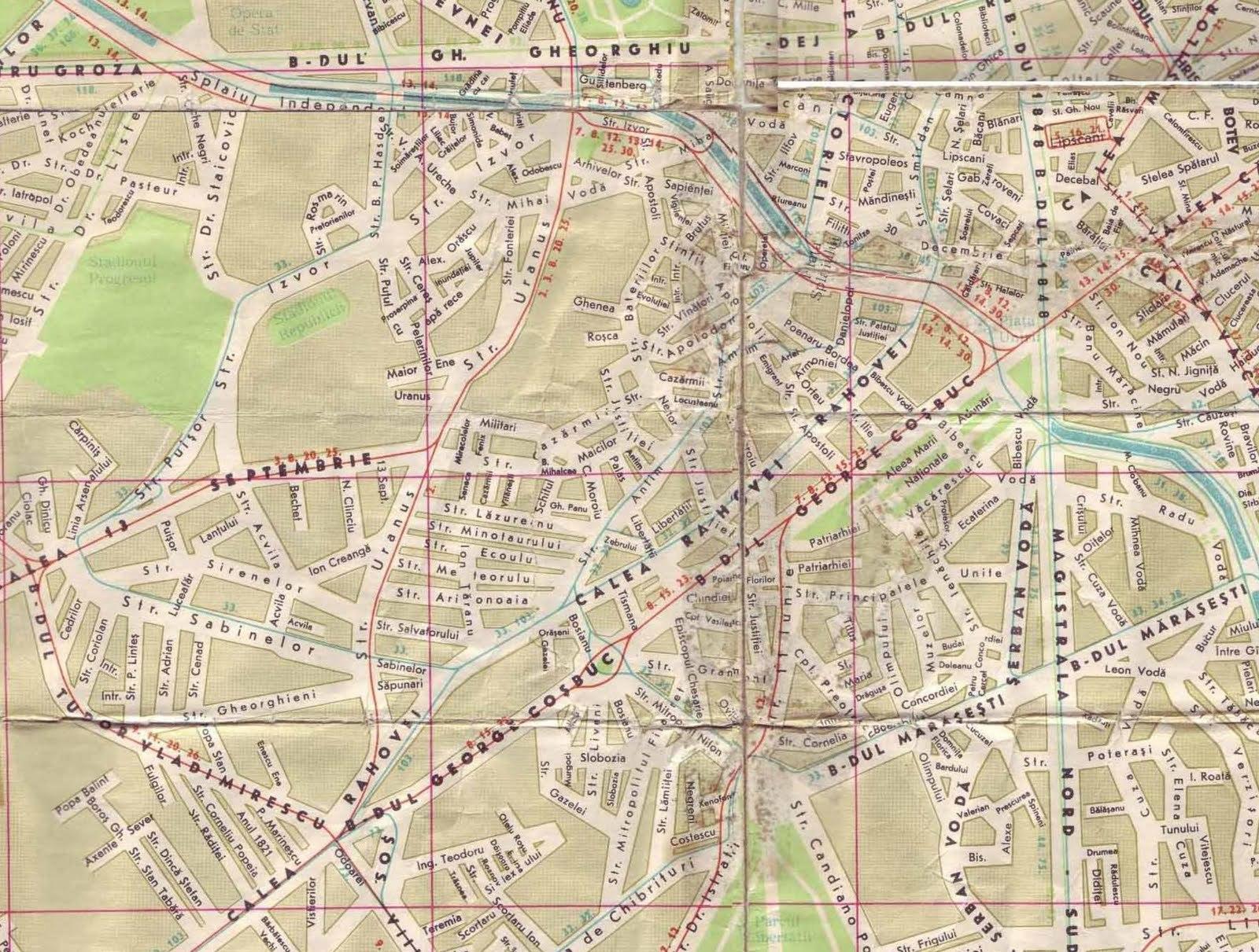 Harta cartierului Uranus în anii 1970