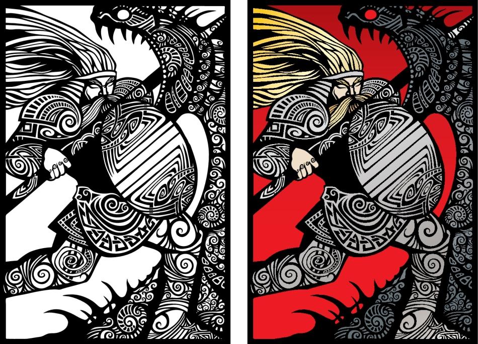 Lupta mitologică între zeii fraţi Perun şi Veles.