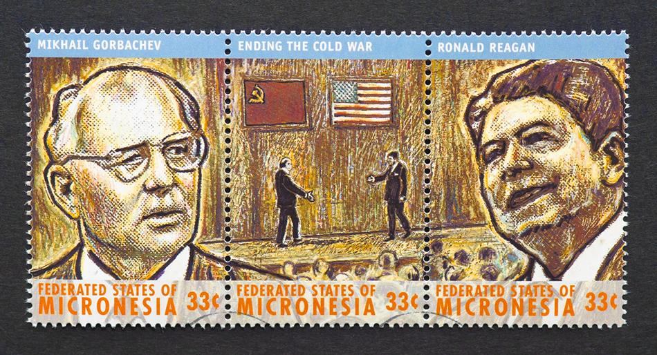 Timbru comemorativ cu preşedinţii Mihail Gorbaciov şi Ronald Reagan.