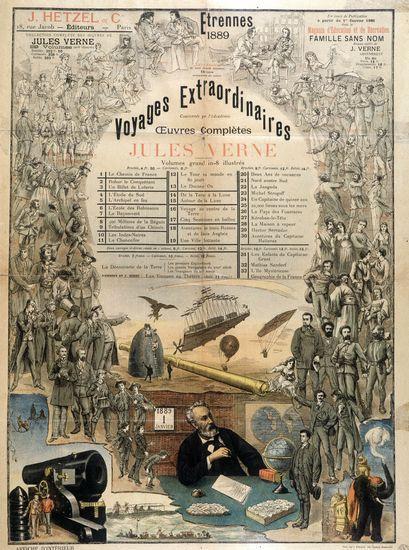 """Afişe cu lista romanelor publicate de Jules Verne, în seria """"Călătorii Extraordinare"""""""