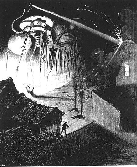 """Ilustraţie din romanul """"Războiul Lumilor"""", de H.G. Wells"""