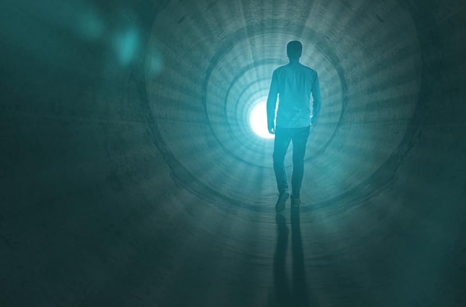 Imagine sugestivă a sufletului omului care se îndreptă spre Lumea Cealaltă.
