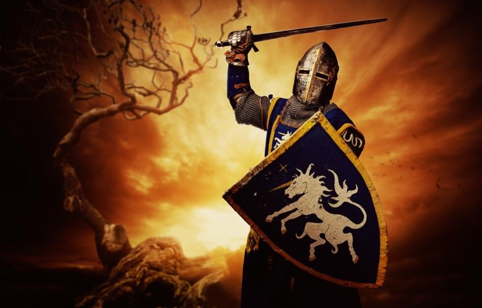 Imaginea clasică a unui cavaler european lansat în plin atac.