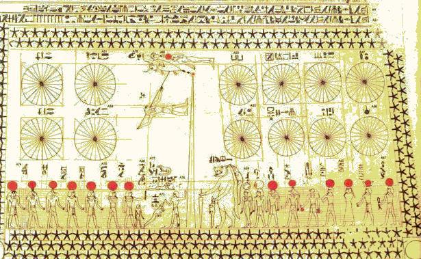 Desen într-un mormânt egiptean, reprezentând constelaţiile