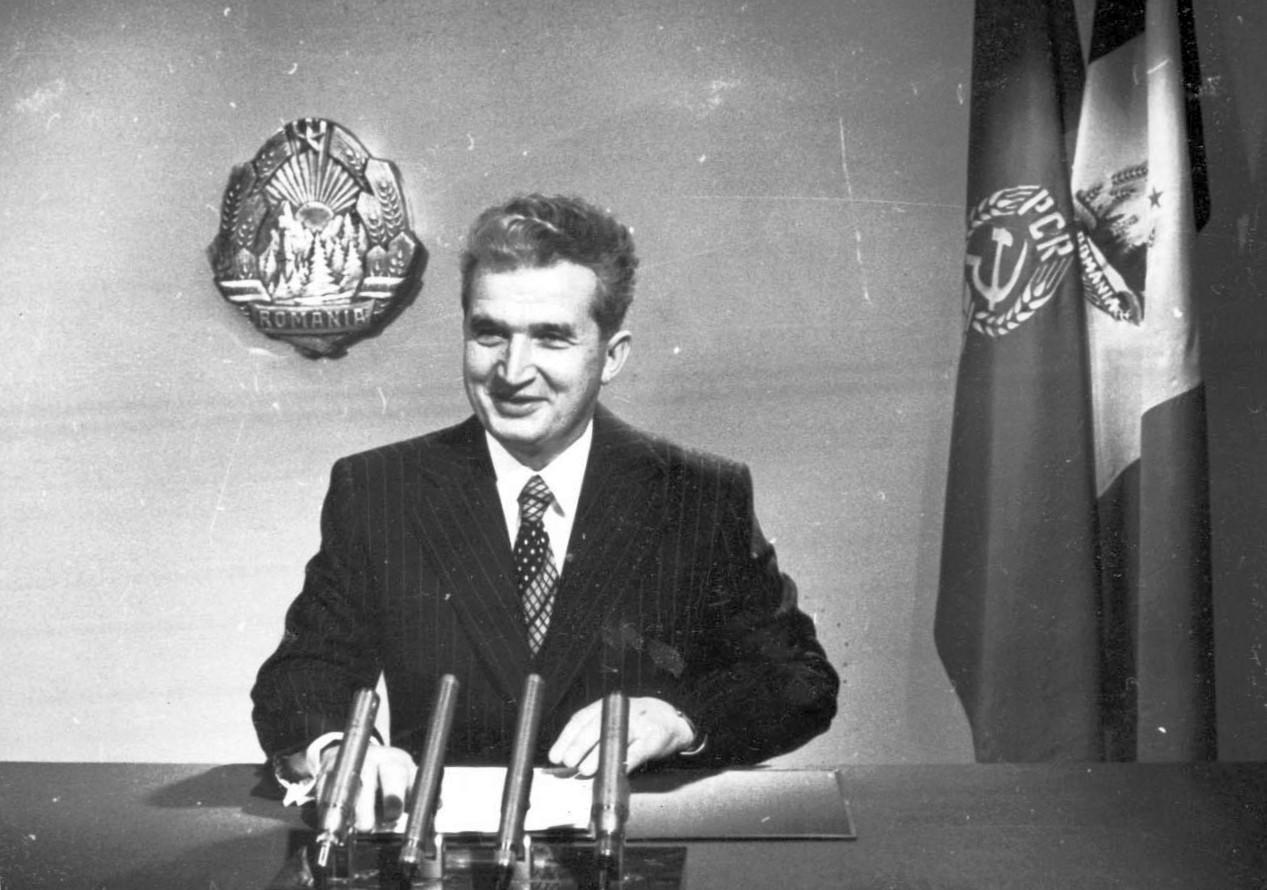 Nicolae Ceauşescu citind discursul de Anul Nou, 1 ianuarie 1978