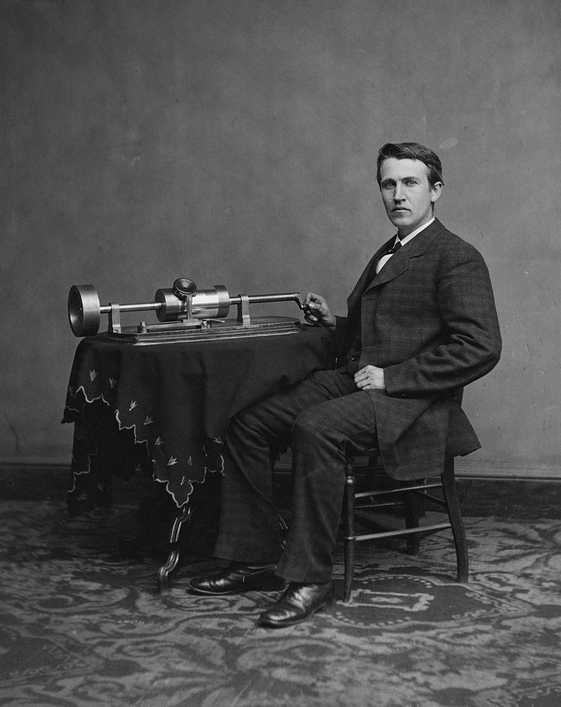 Edison lângă fonograf, 1887