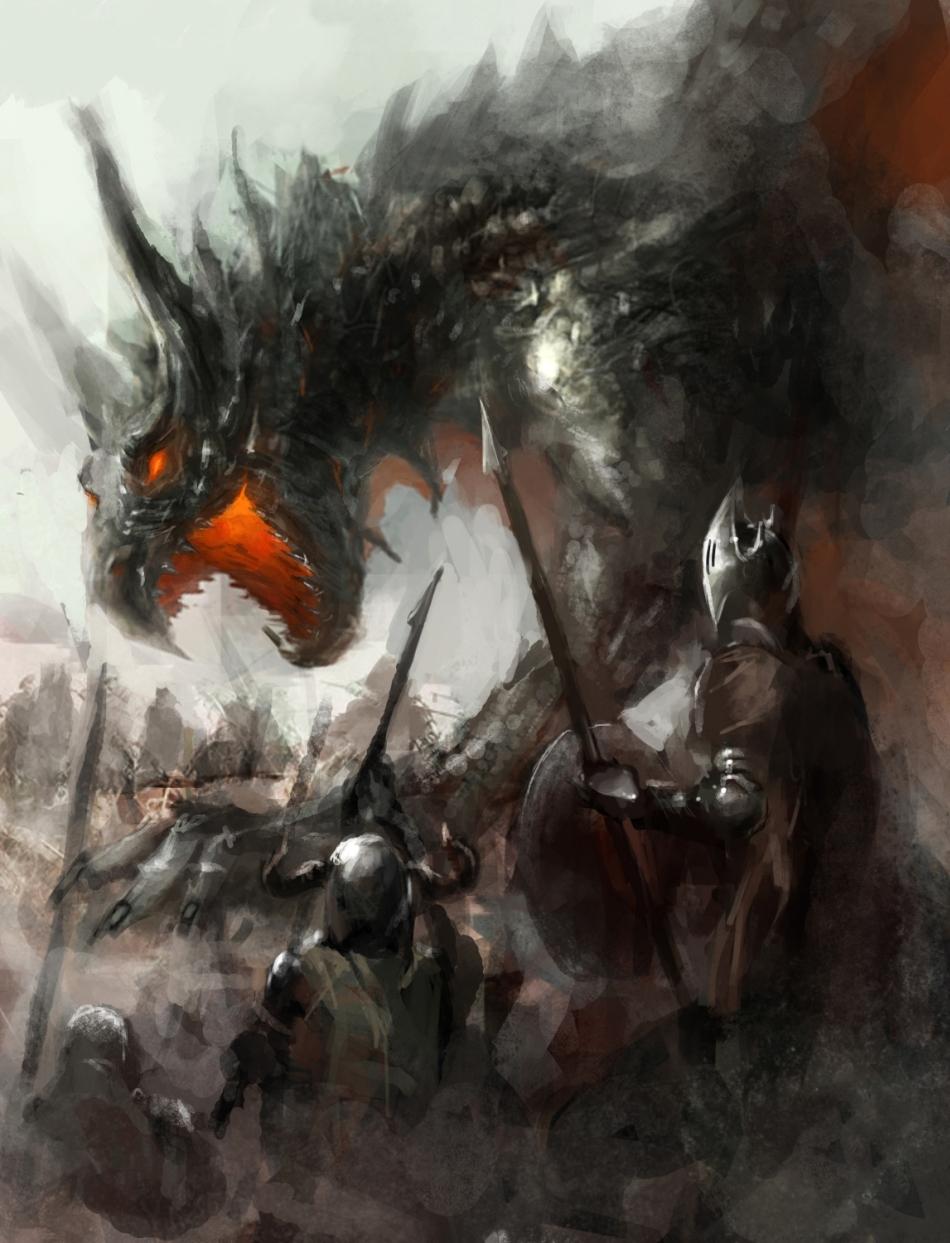 Balaur în luptă cu cavaleri