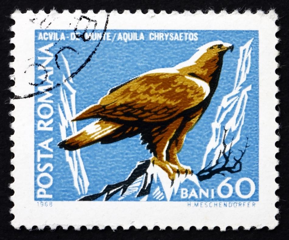 Primul timbru cu o acvilă de munte emis de Poşta Română