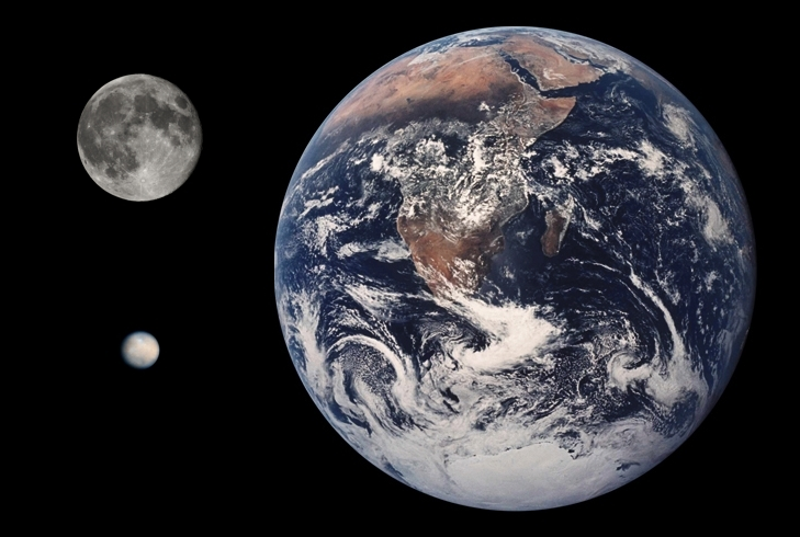 Ceres este mult mai mică decât Terra sau Luna