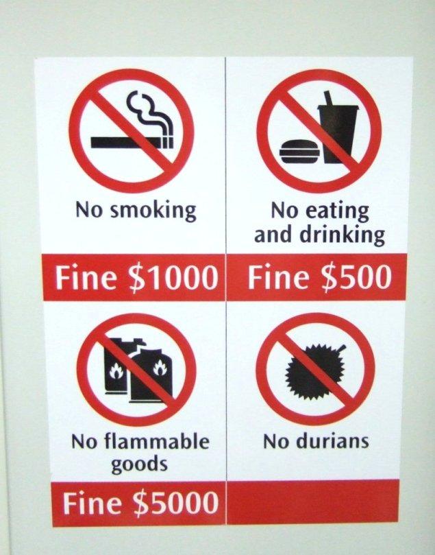 În metroul din Singapore este interzisă urcarea cu fructe de durian.